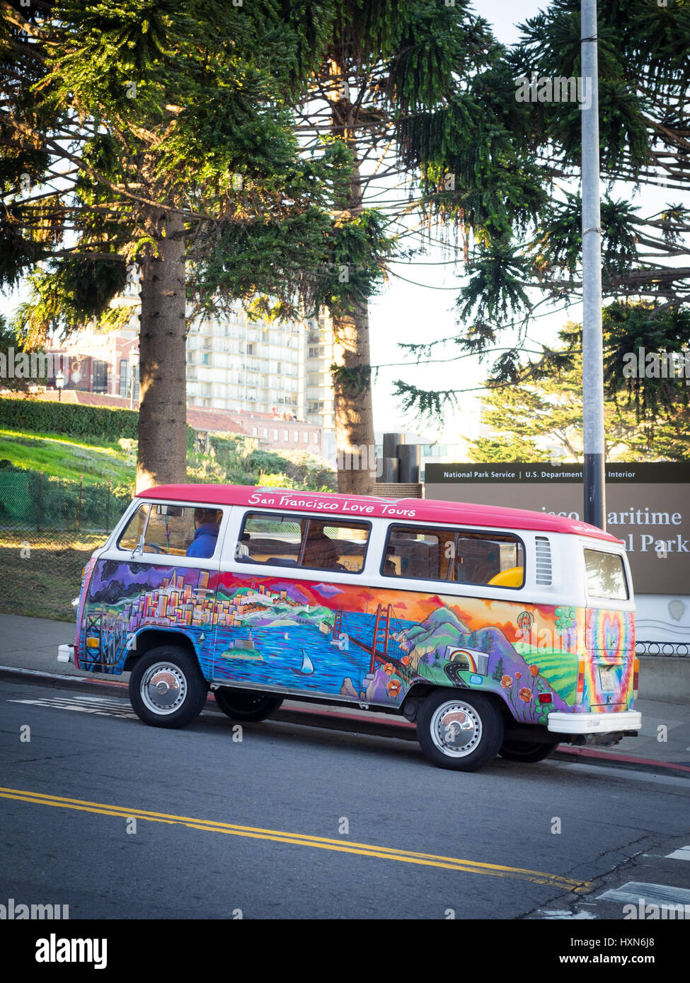 a san francisco love tours volkswagen bus 1972 vw bus painted by stock photo alamy https www alamy com stock photo a san francisco love tours volkswagen bus 1972 vw bus painted by madison 136919840 html