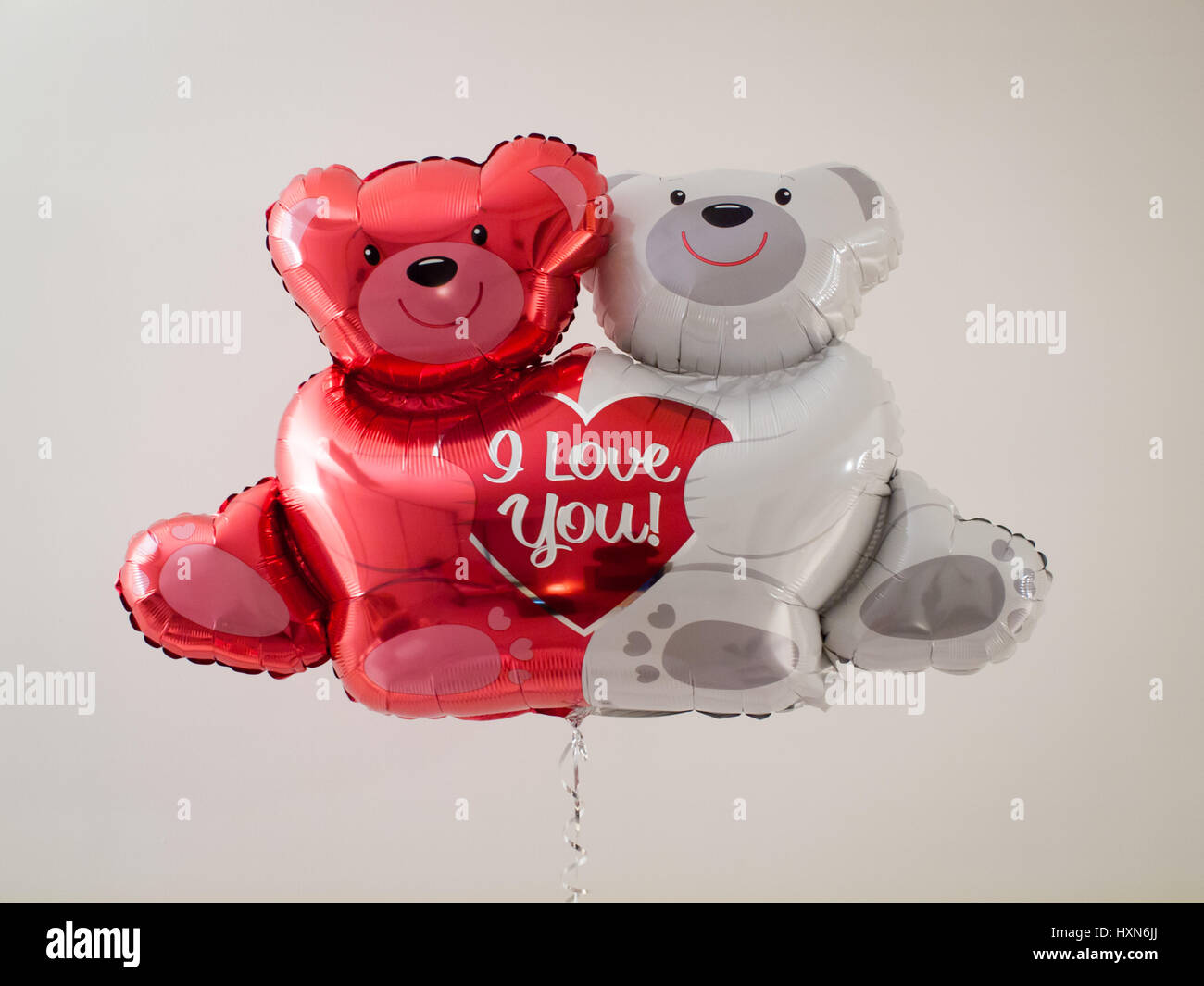 A Valentine's Day bear balloon that says 'I Love You' :) - Stock Image
