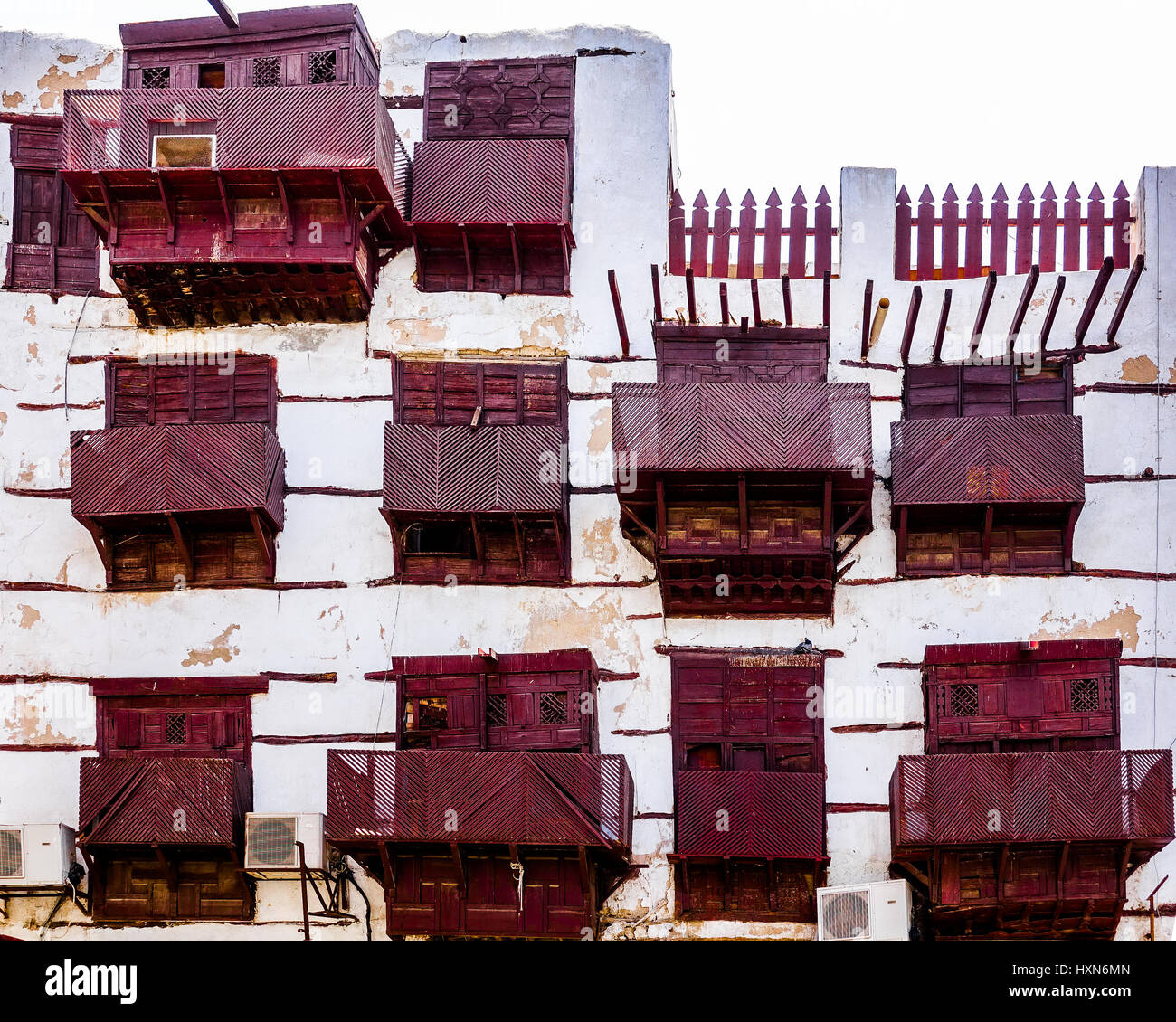 Old Arabian Wooden Windows On The Historical Building In
