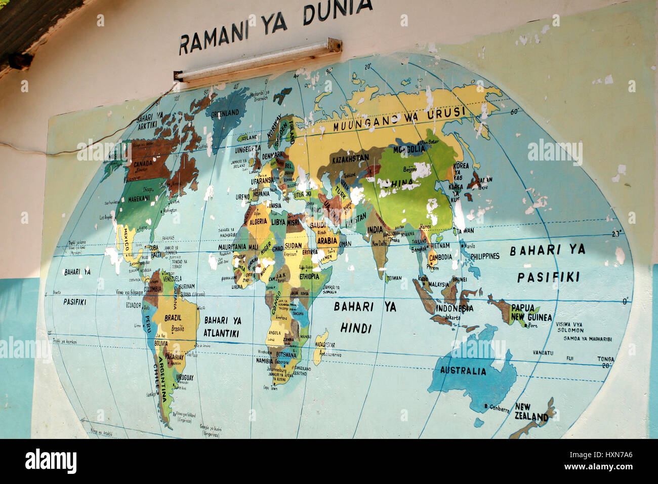 Dar es Salaam, Tanzania - February 21, 2008: World map that hangs on the wall at the entrance to the school yard, Stock Photo