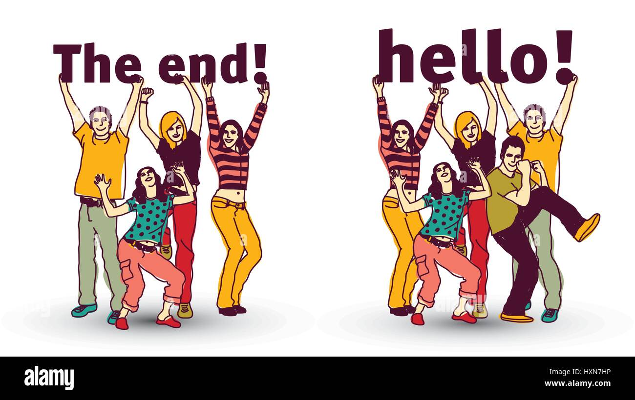 The end and hello sign team group business people isolate