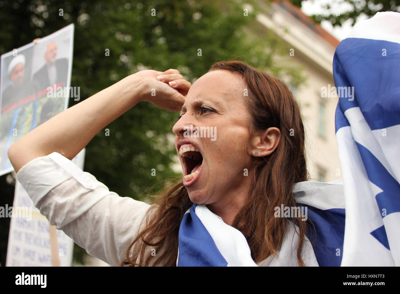 Berlin, Germany, July 25th, 2014: Al Quds day protest and anti-protest in Berlin. - Stock Image