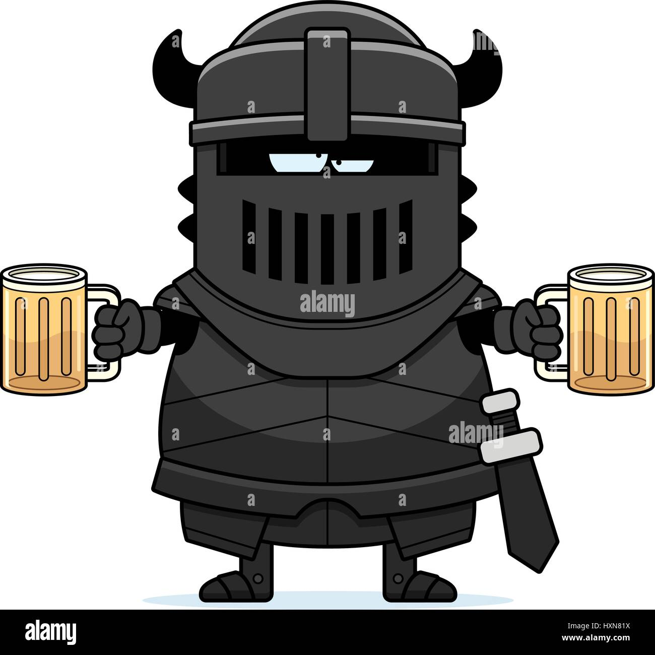A cartoon illustration of the black knight looking drunk