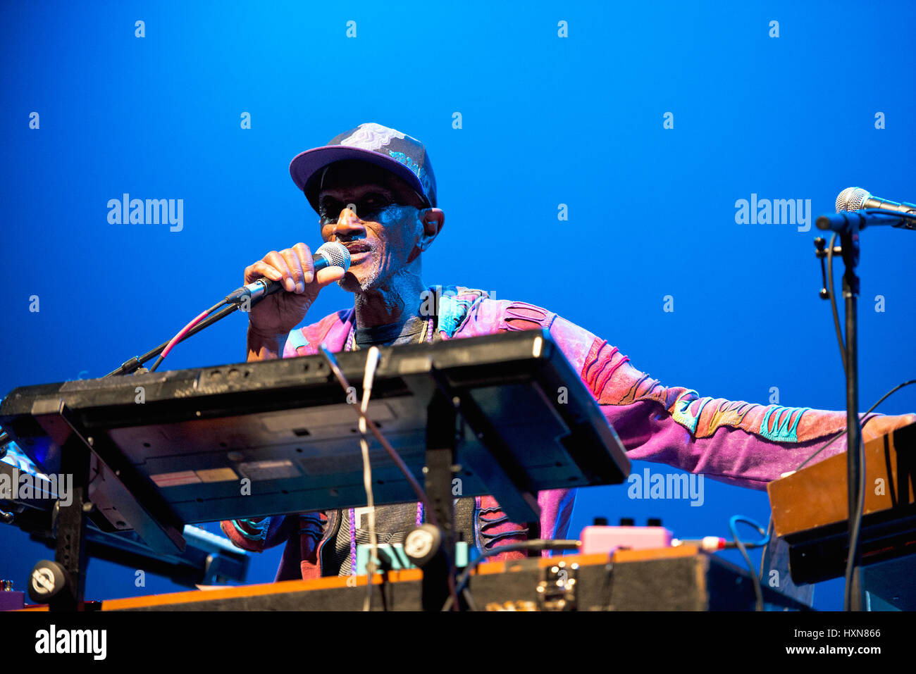 Bernie Worrell playing at MOOG Fest at Diana Wortham Theatre, Asheville NC. Bernie Worrell is best known for his - Stock Image