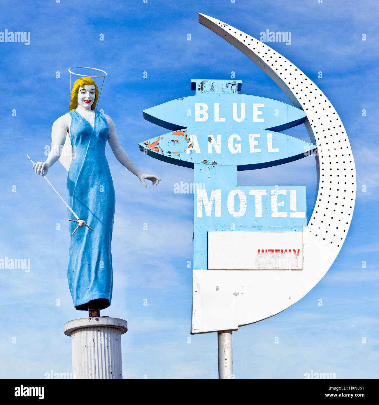 Composite of the sign and statue of the iconic Blue Angel Hotel in Las Vegas Nevada. - Stock Image