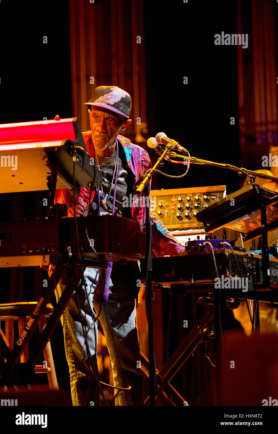 Bernie Worrell Orchestra playing at MOOG Fest at Diana Wortham Theatre, Asheville NC. Bernie Worrell is best known - Stock Image