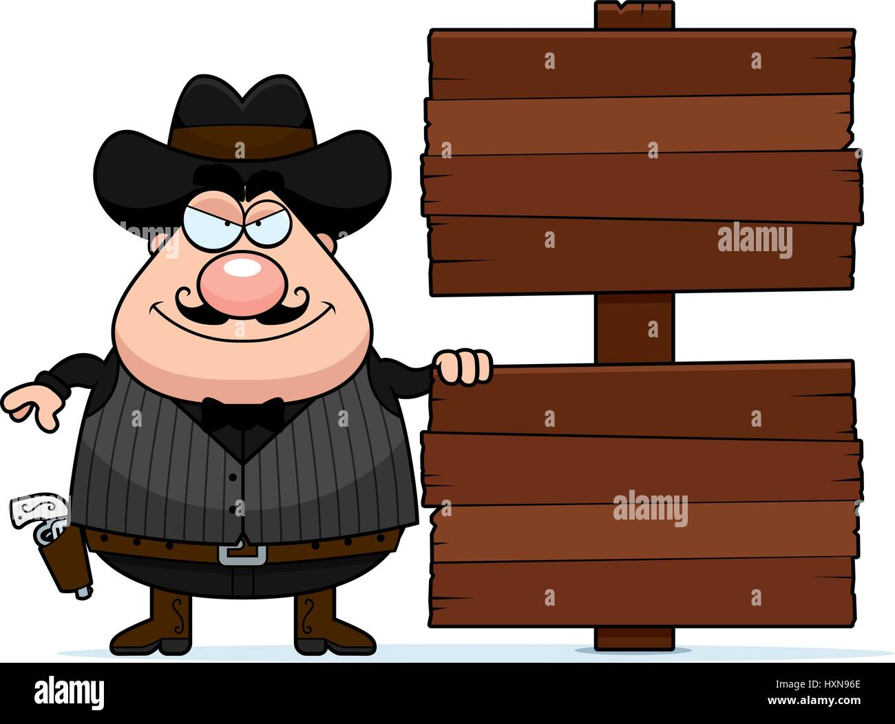 A cartoon illustration of a gunfighter with a wooden sign