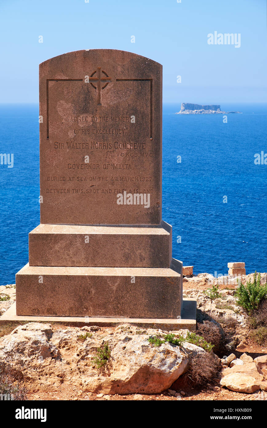 Qrendi, MALTA - JULY 28, 2015:  The memorial to Sir Walter Norris Congreve,  English Army officer  and the governor - Stock Image