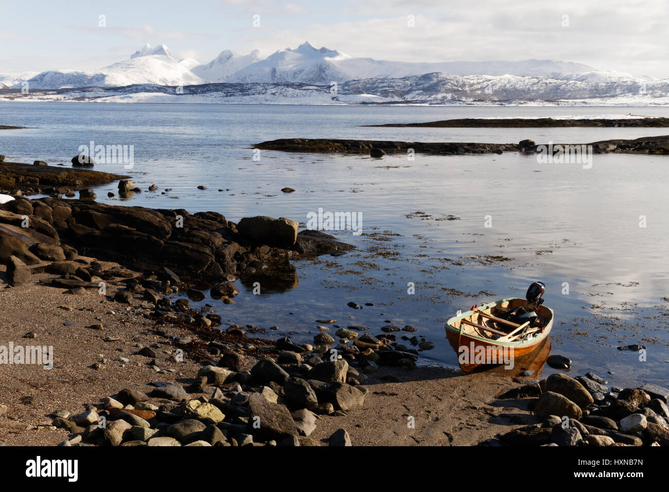 Evening idyll at the coast of Saltfjorden in Bodø, Northern Norway - Stock Image