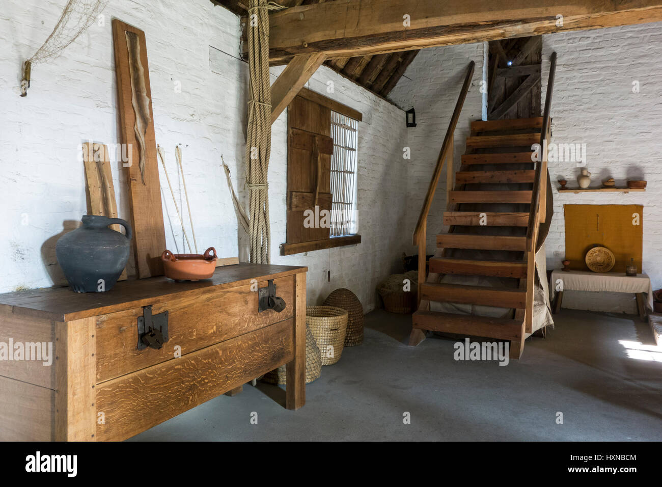 Interior of 15th century fisherman's house at the reconstructed medieval fishing village of Walraversijde, open - Stock Image
