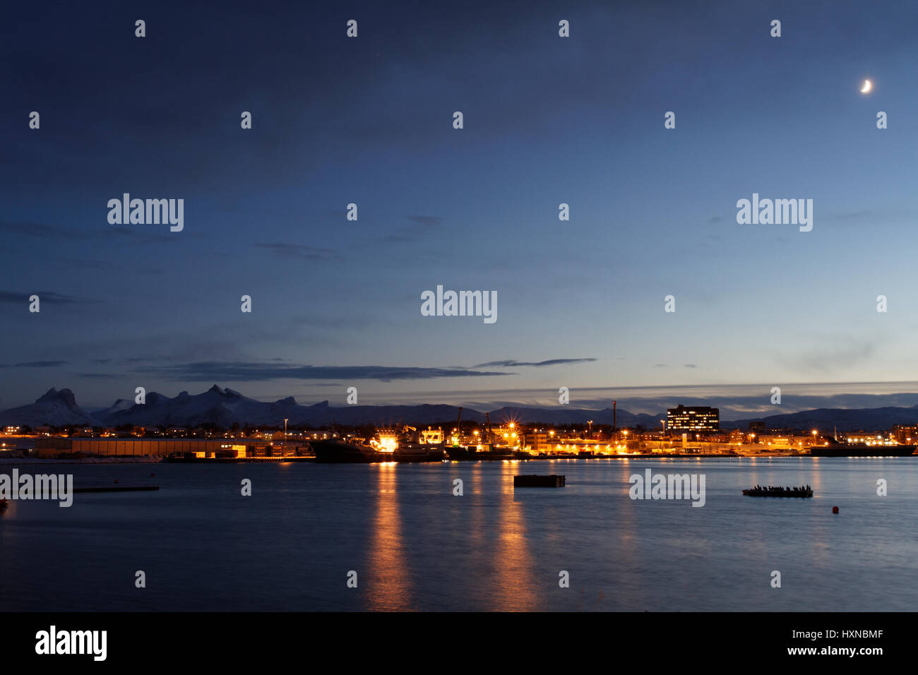 Evening view over Bodø - Stock Image