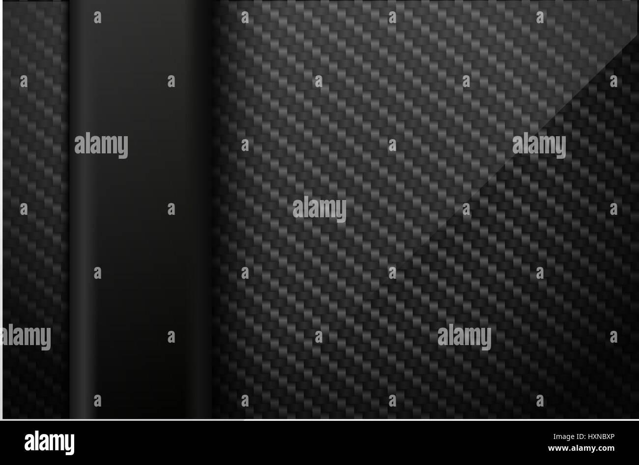 Vector black carbon fiber background with dark vertical plastic line element. Industrial design illustration. - Stock Image