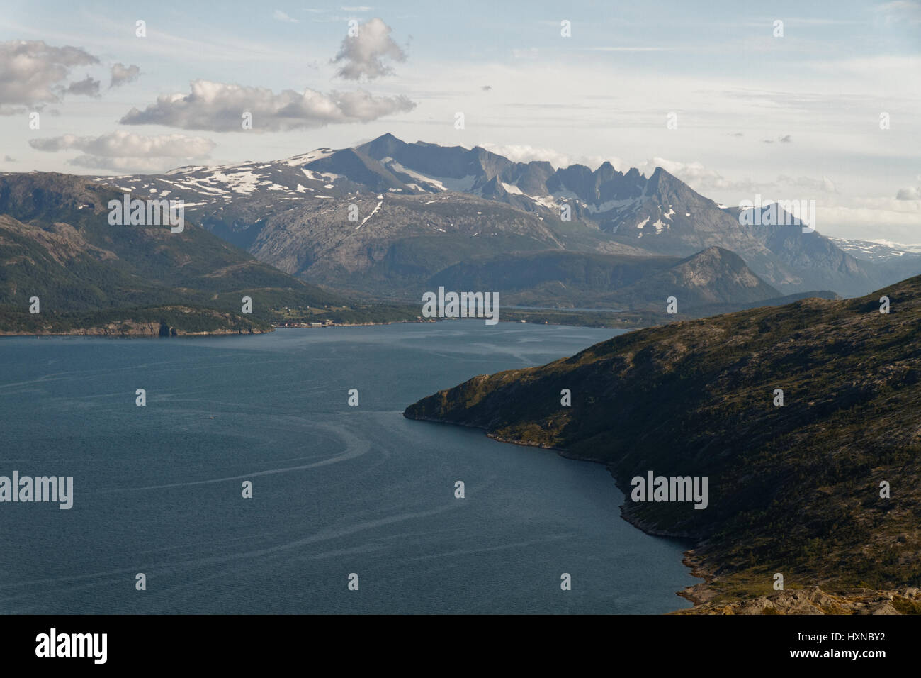 Evening view from Hopen, near Bodø, north of Norway - Stock Image