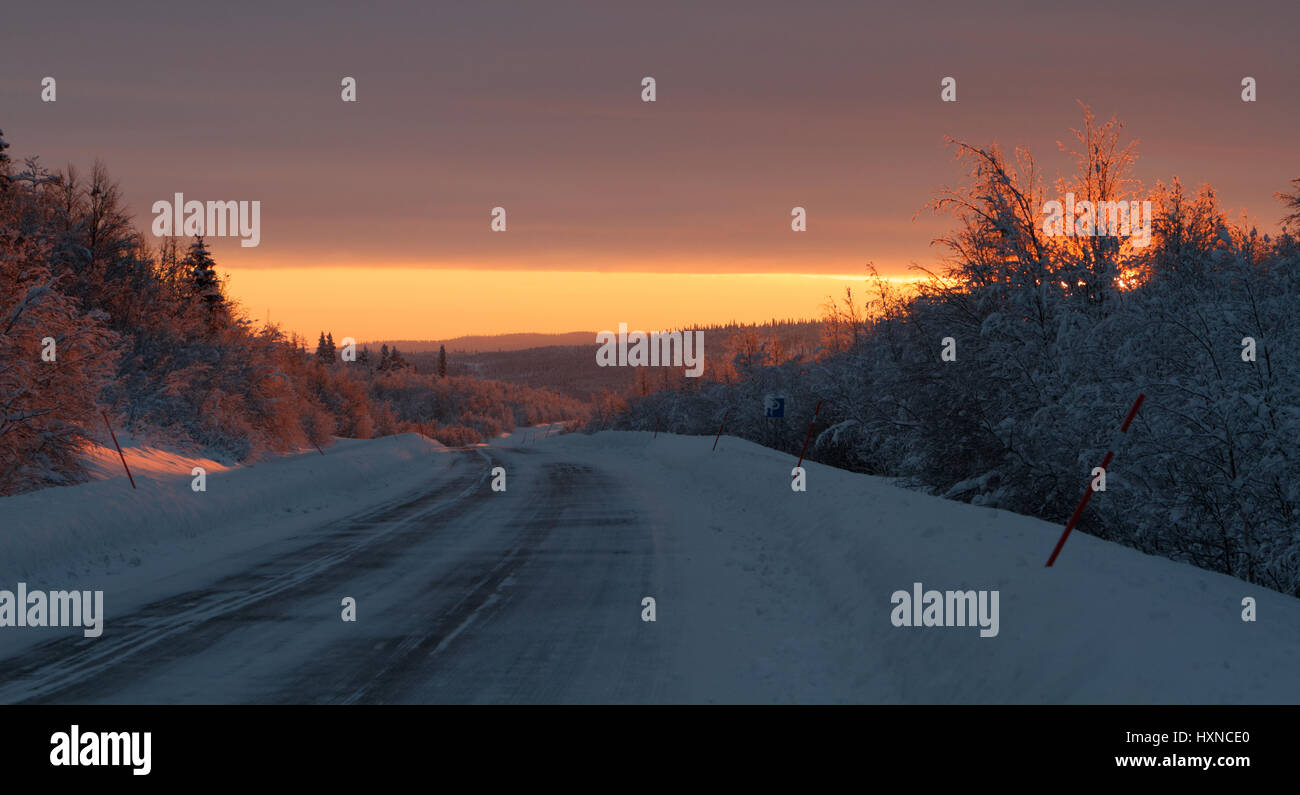 Frosty winter in northern Sweden - Stock Image