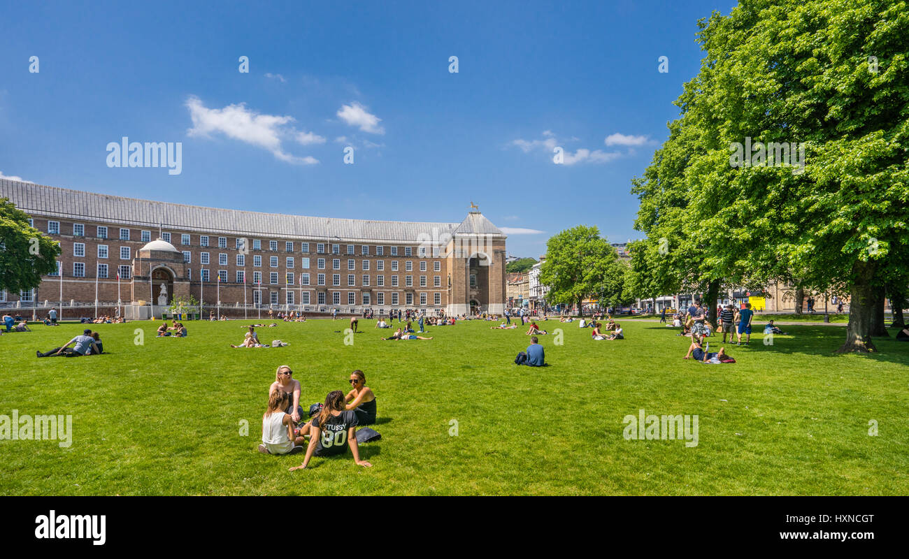 United Kingdom, England, Bristol, College Green public open space with view of the Bristol City Hall - Stock Image