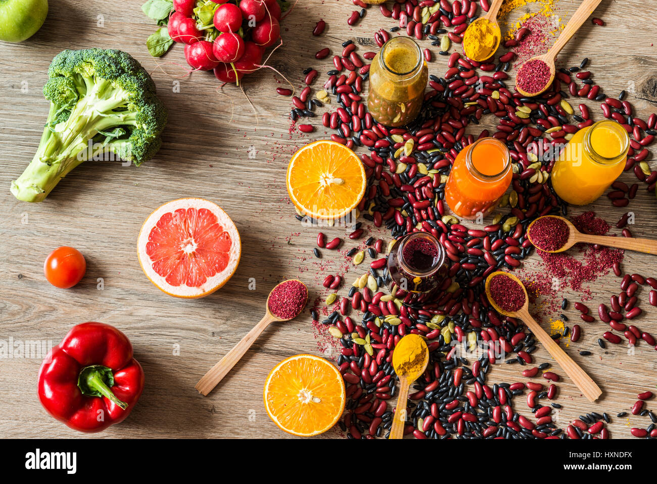 Detox diet. Different colorful fresh juices. top view Stock Photo
