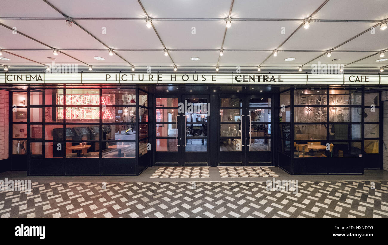 Colour photograph of London's Picturehouse Central Cinema, Car and Bar in London's West End. - Stock Image