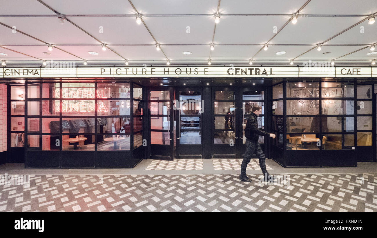 London's Picturehouse Central Cinema, Car and Bar in London's West End with a man pictured leaving the venue. - Stock Image