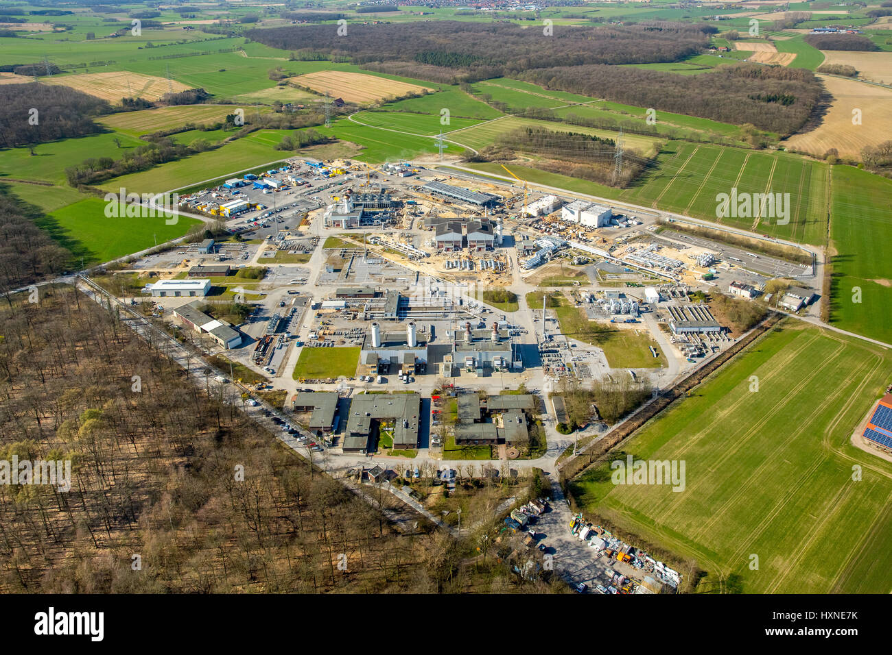 Gas distribution plant open-grid, construction measures, gas pipeline, Werne, Ruhr area, North Rhine-Westphalia, - Stock Image