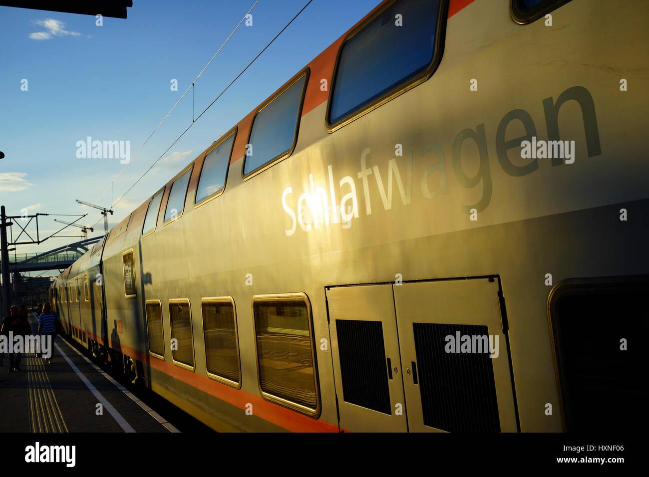 Autoreisezug, Terminal, Wien, Österreich, Schlafwagen - Stock Image