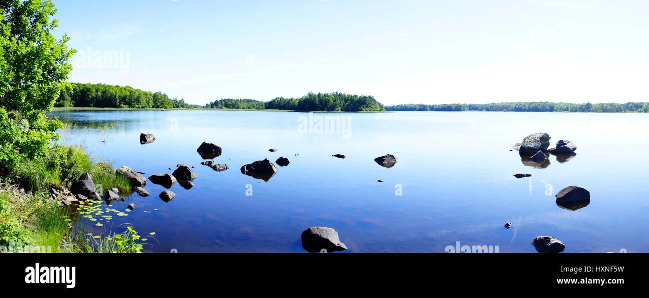 Asnen, See in Schweden, Panorama - Stock Image