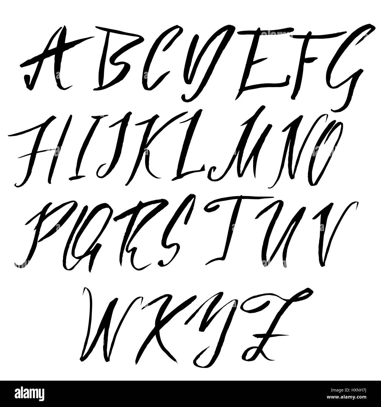 Hand Drawn Font Modern Brush Lettering Elegant Alphabet Vector Illustration