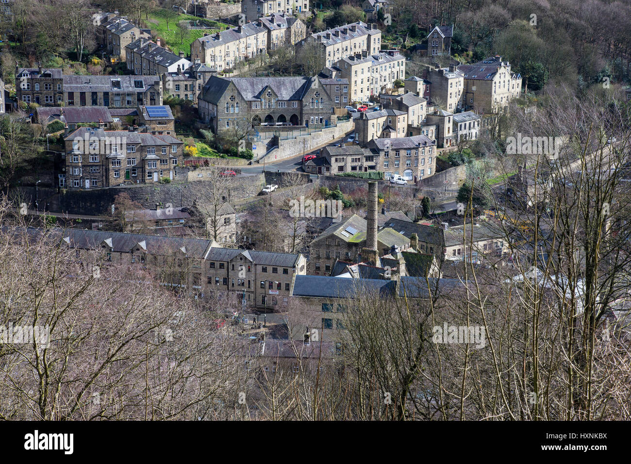 Elevated view of Hebden Bridge Stock Photo