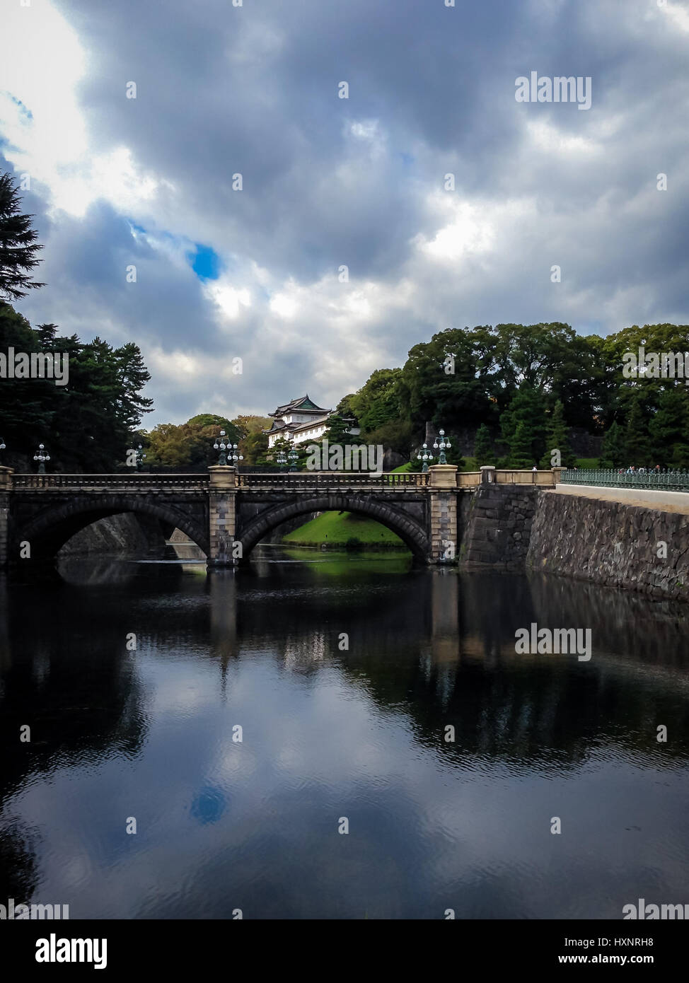 Nijubashi Bridge and Imperial Palace - Tokyo, Japan - Stock Image