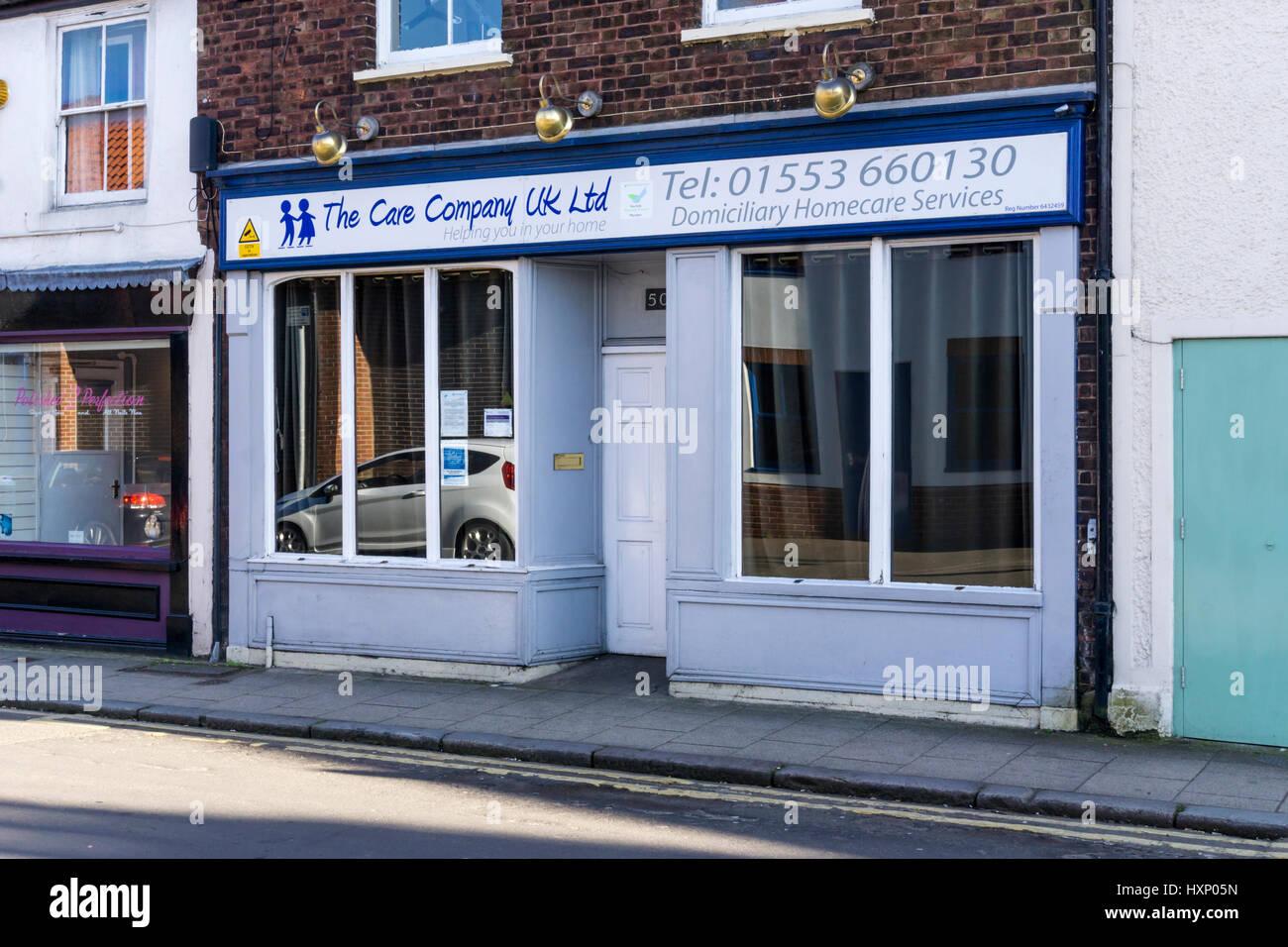 The premises of The Care Company UK Ltd in Norfolk Street, King's Lynn. - Stock Image