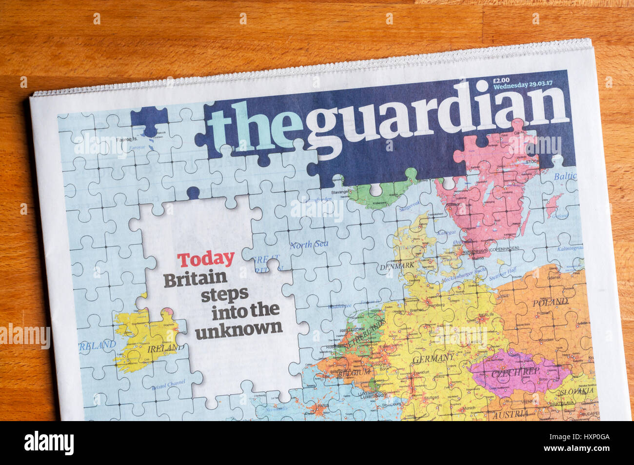 The front page of The Guardian newspaper on the day that the UK triggers Article 50 to begin the process of leaving - Stock Image