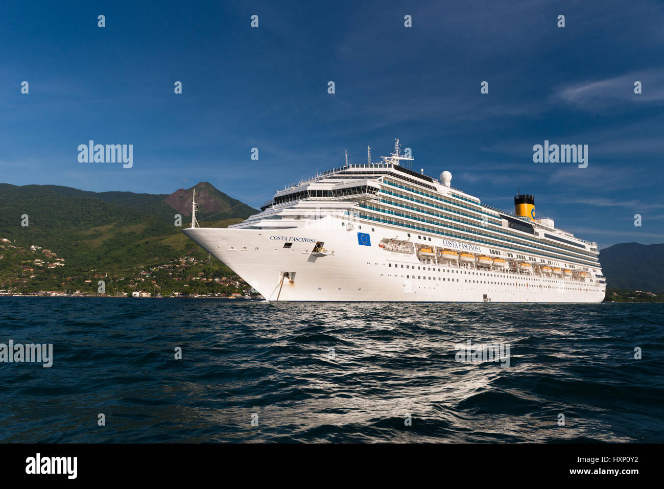 Costa Fascinosa cruise ship anchored off Ilhabela Stock Photo