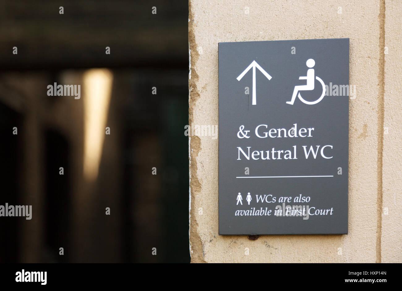 Gender Neutral WC sign, Cambridge England UK - Stock Image