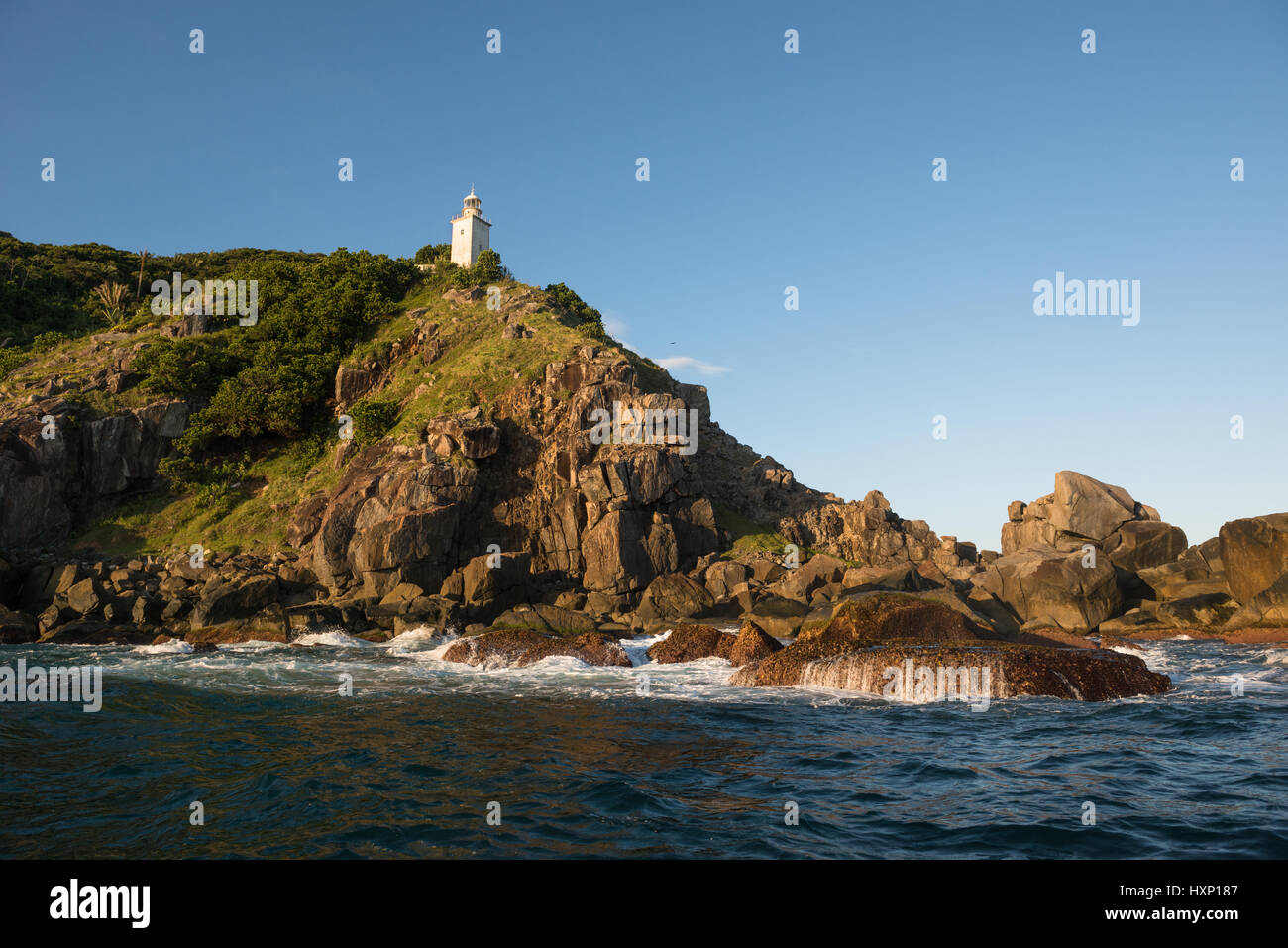 Ponta do Boi lighthouse in Ilhabela Stock Photo