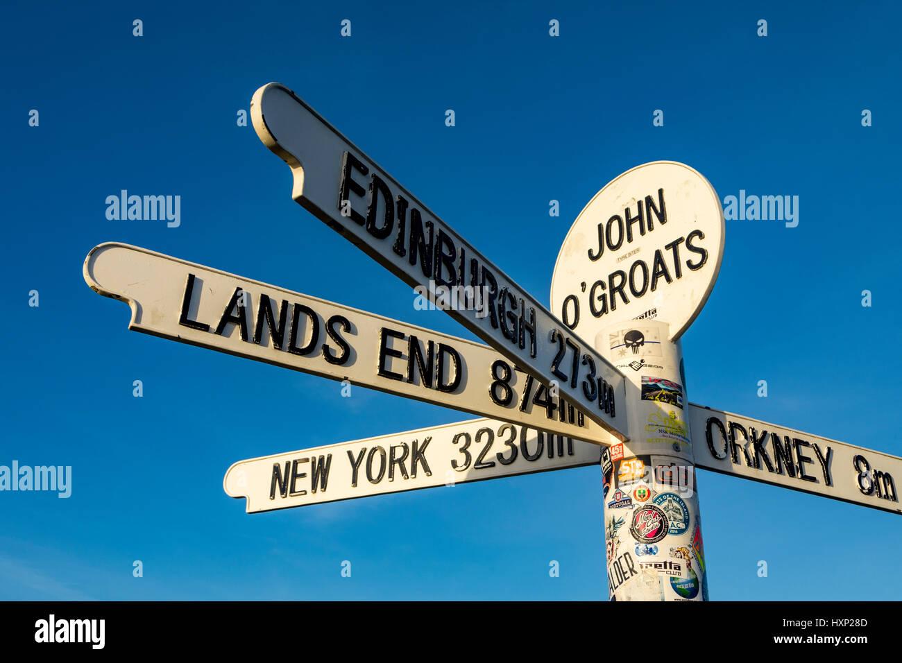 The signpost at John o' Groats, Caithness, Scotland, UK Stock Photo