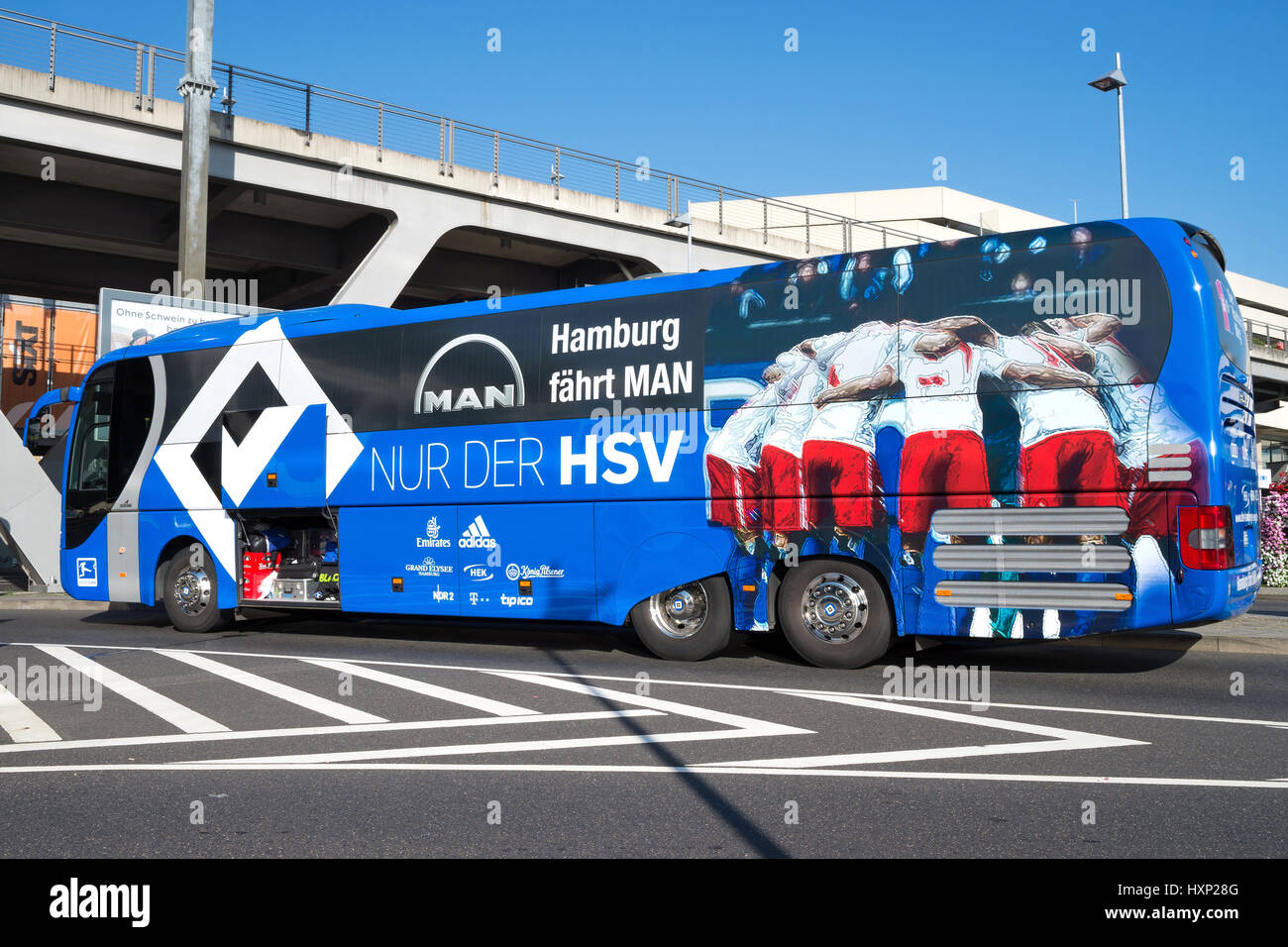 team bus of the Hamburger SV football department. The HSV is the only team that has played in every season of the - Stock Image