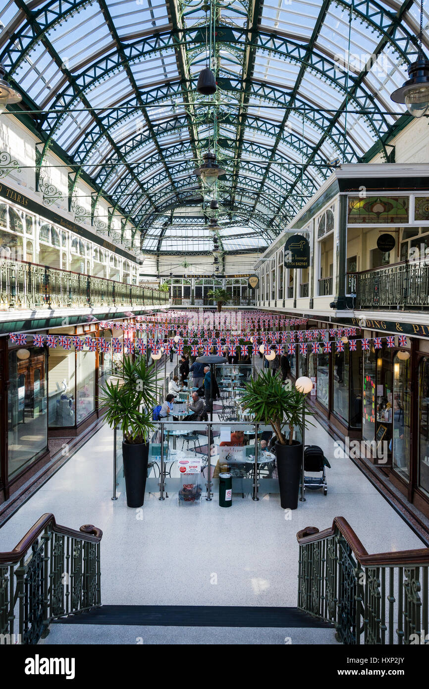 The Wayfarers Arcade, a Grade 2 listed building located on the famous boulevard of Lord Street in the seaside town Stock Photo