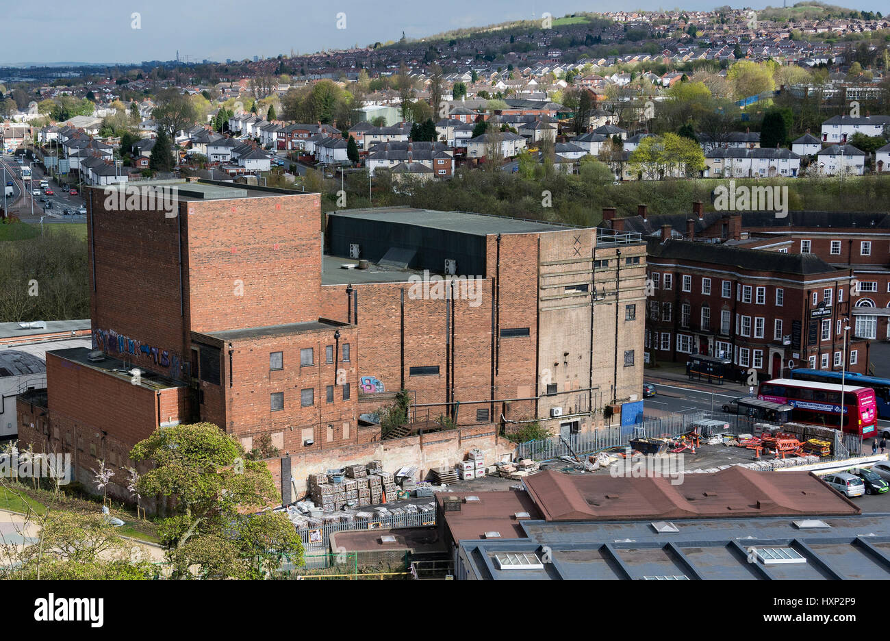 View of the old Plaza Cinema and the Station Hotel with Kate's Hill council estate in the distance. Dudley, - Stock Image