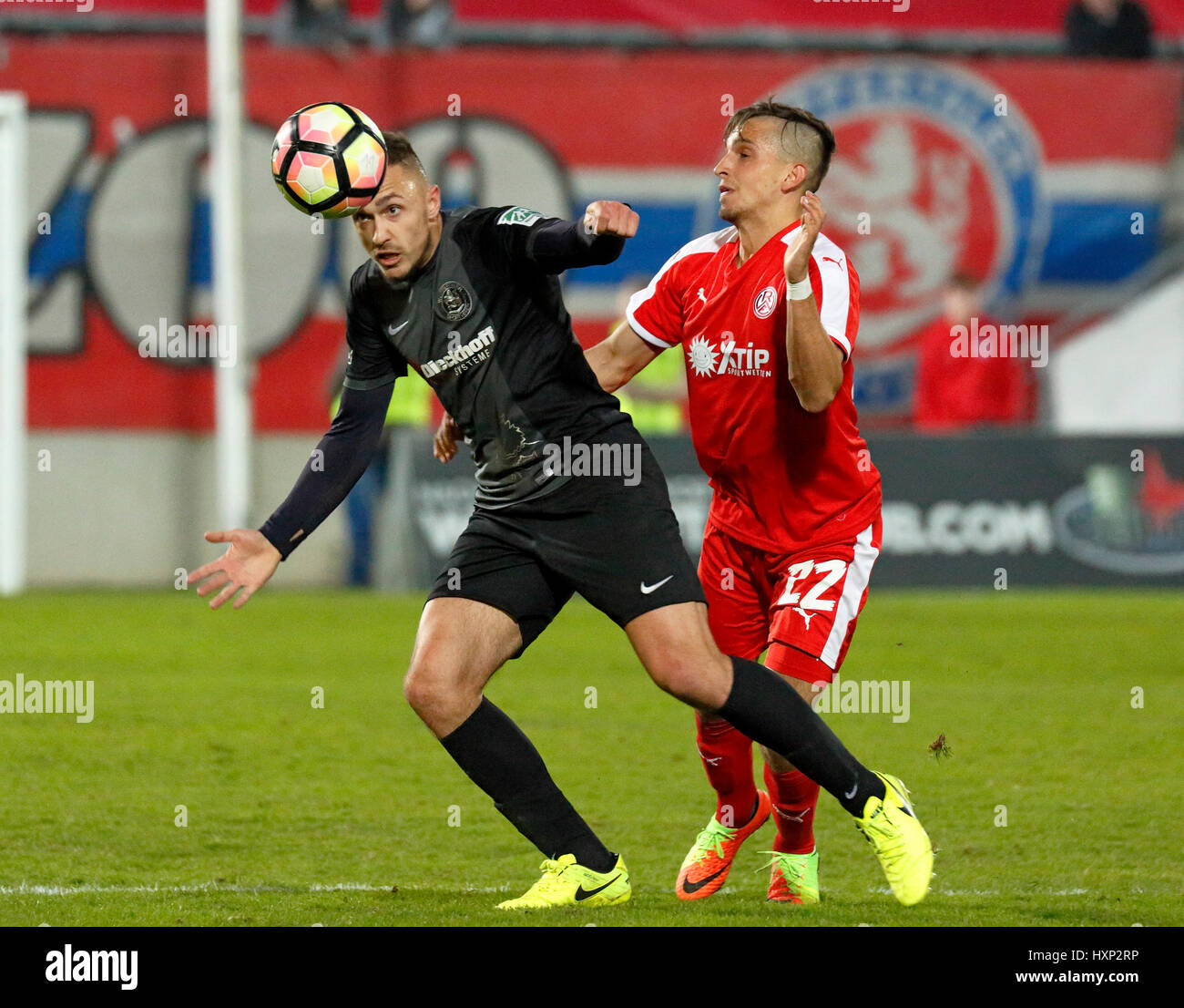 sports, football, Lower Rhine Cup, 2016/2017, semifinal, Wuppertaler SV vs Rot Weiss Essen 2:3, Stadium Am Zoo in - Stock Image