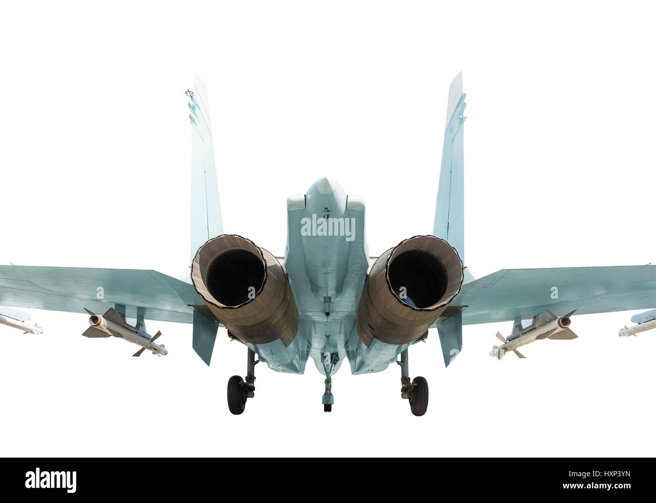 Back view of the supermaneuverable fighter aircraft on the white background - Stock Image