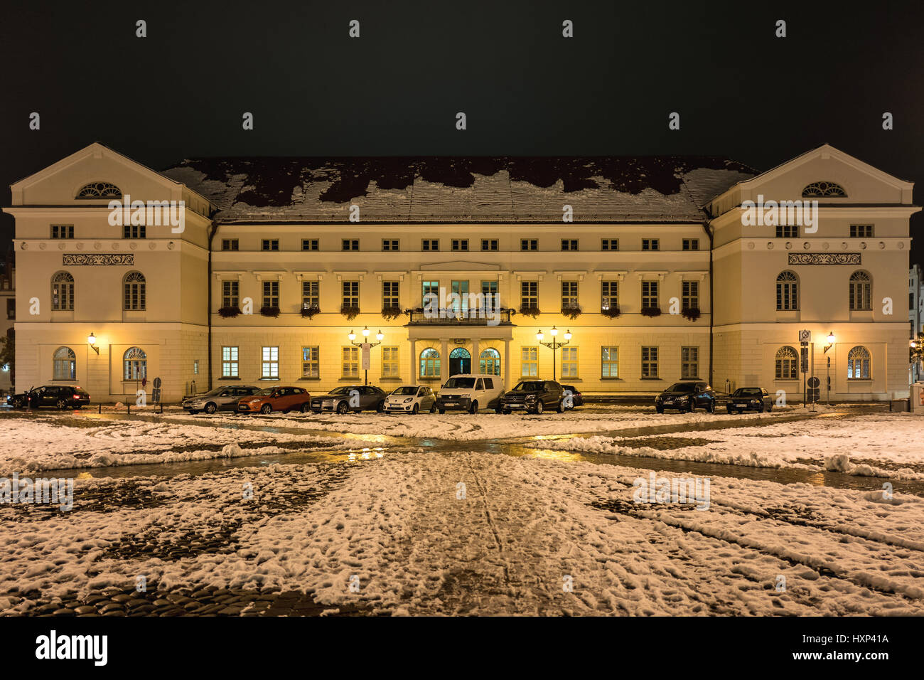 Wismar town hall in the dark - Stock Image