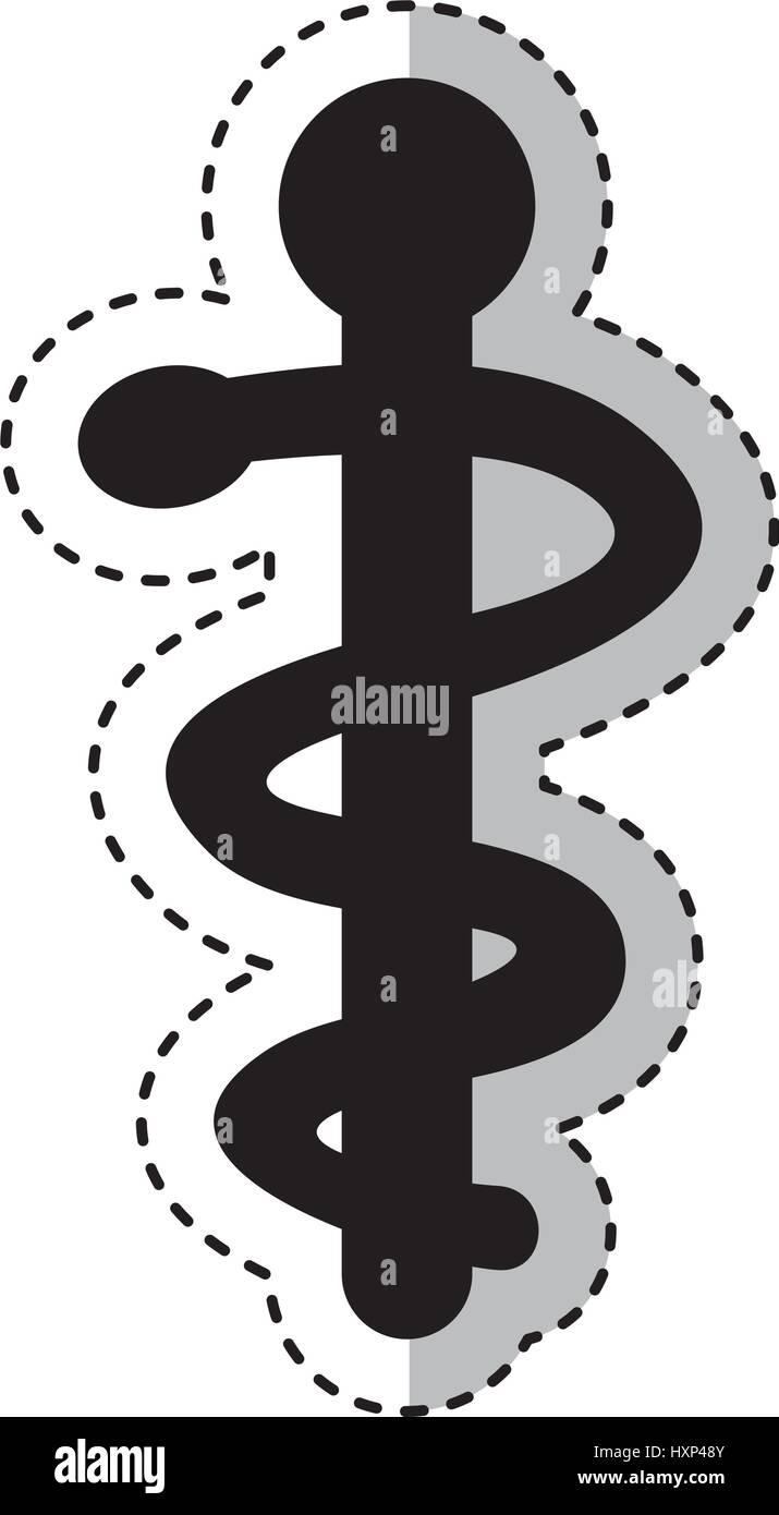 caduceus symbol isolated icon - Stock Image