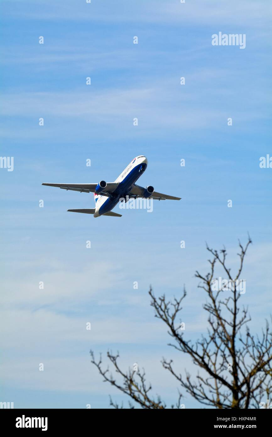 British Airways Boeing -777 passenger plane taking off from Heathrow London UK - Stock Image