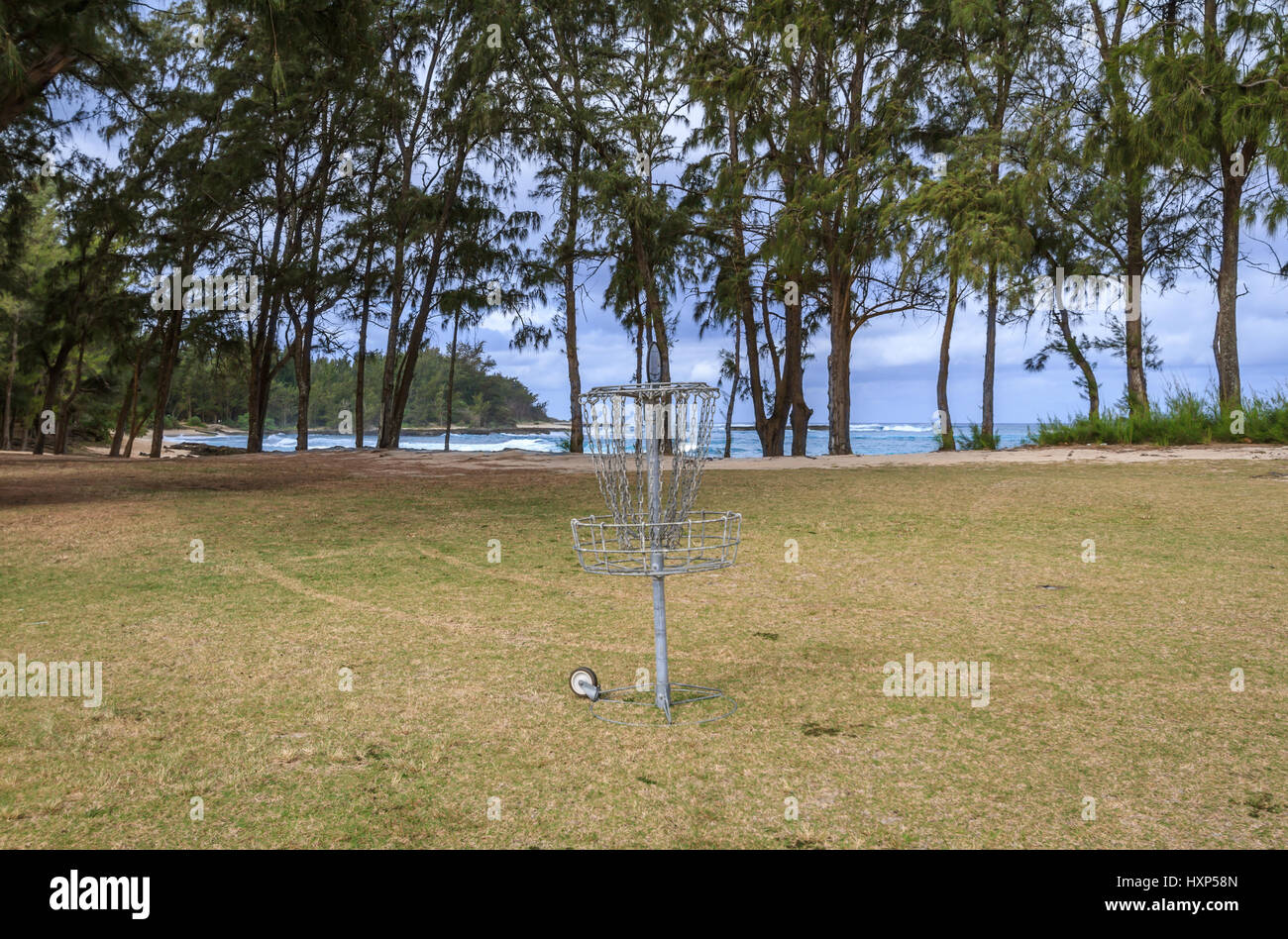 Disk golf course at the on the beach at the Turtle bay resort on the north shore of Oahu Hawaii - Stock Image