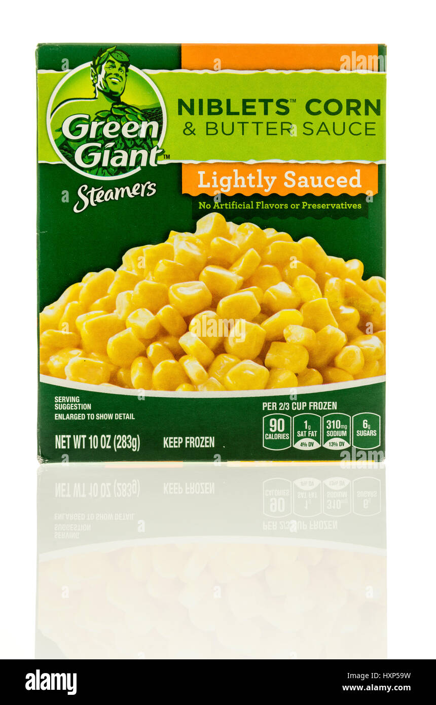 Winneconne, WI - 24 March 2017:  Box of Green Giant Niblets Corn & butter sauce on an isolated background. - Stock Image