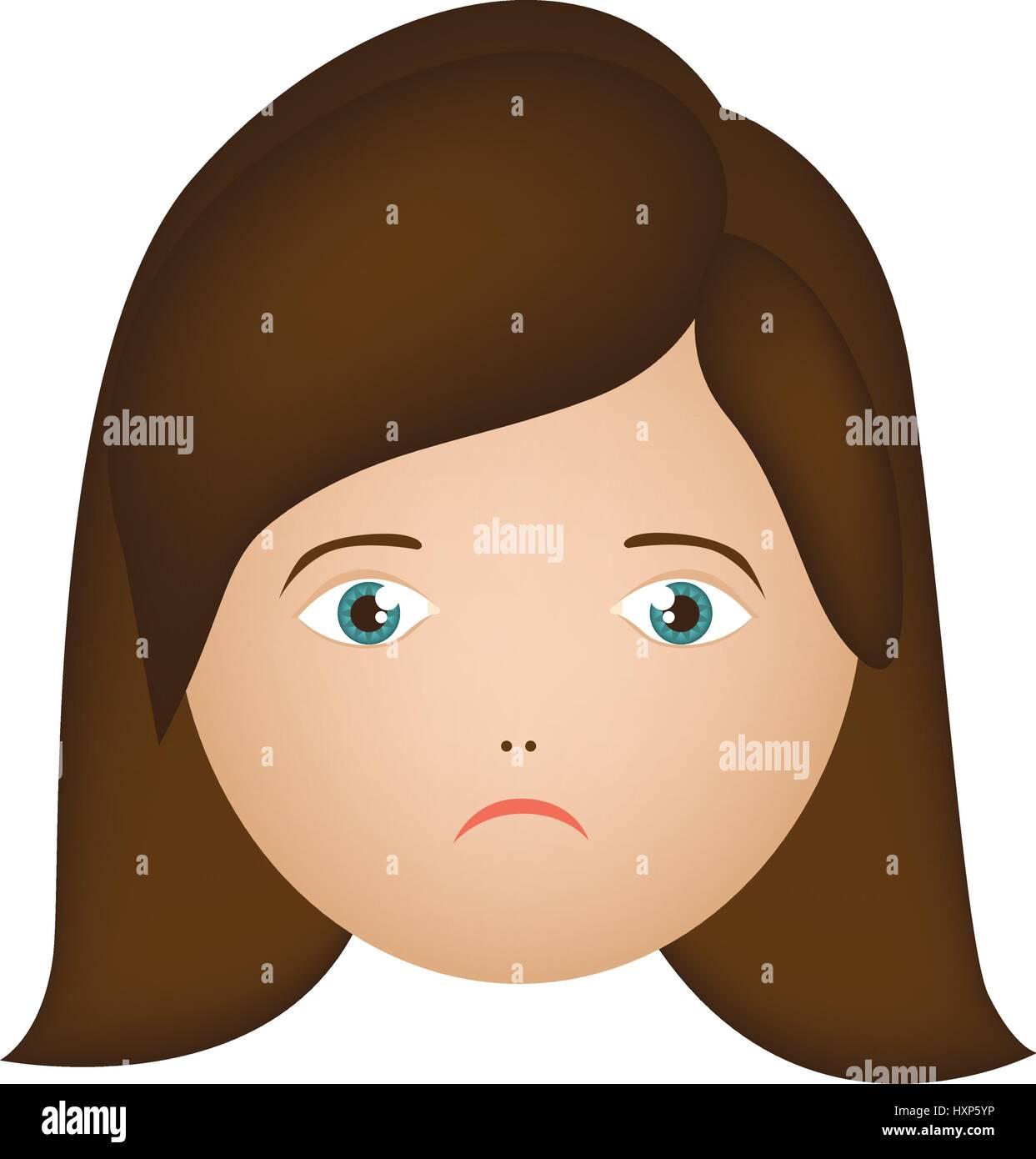 colorful cartoon human female sad face