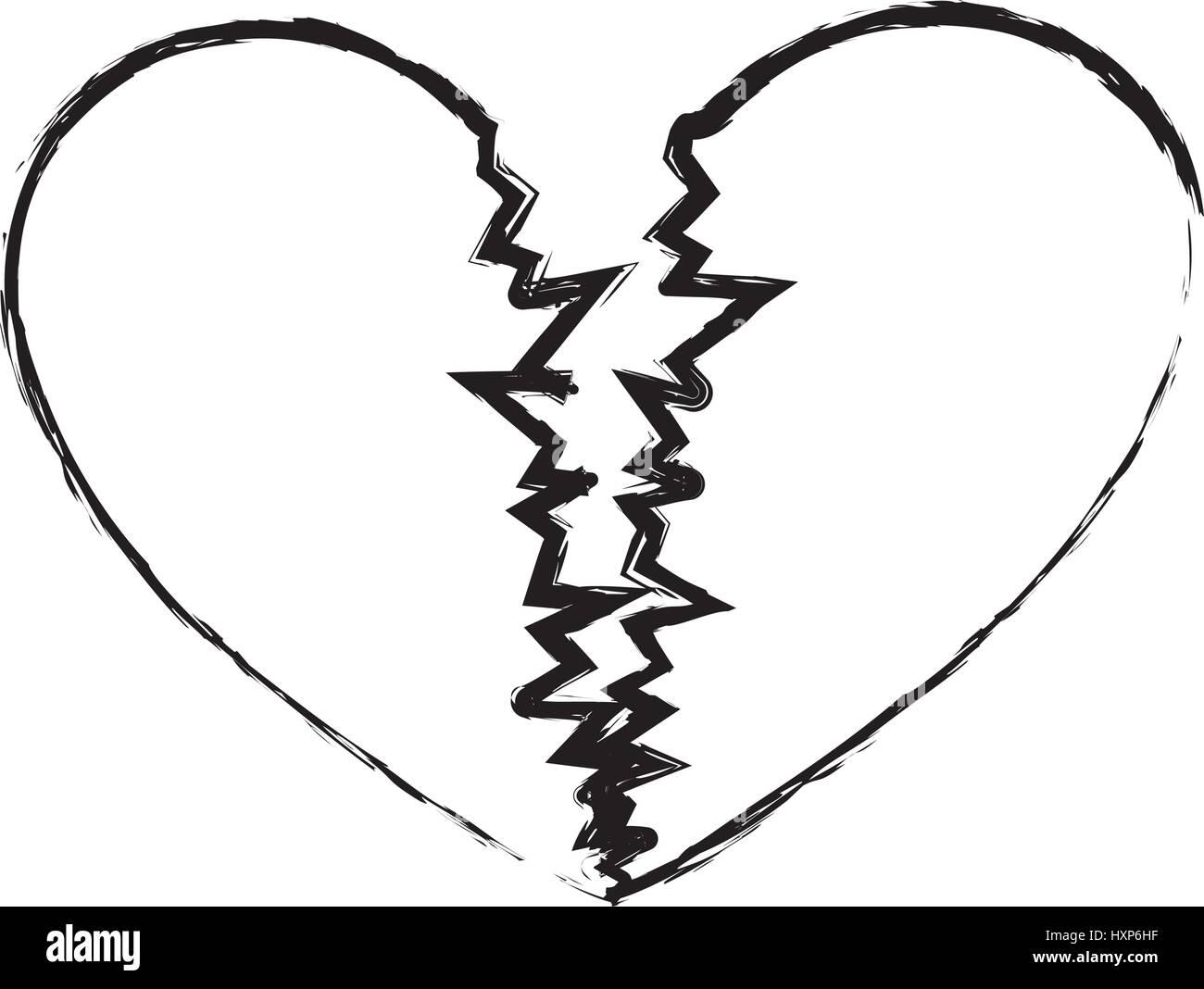 Monochrome Sketch Of Broken Heart