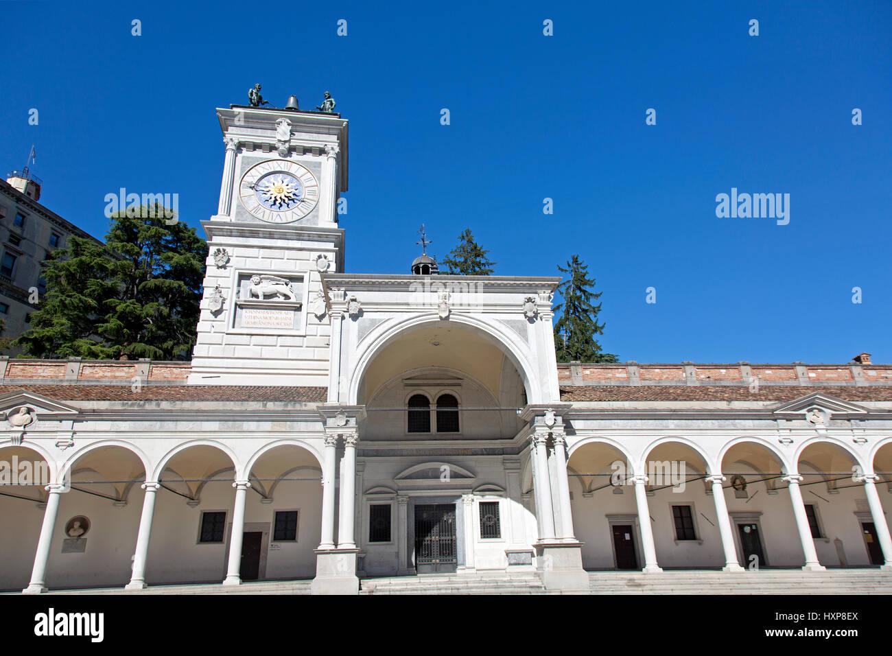 Udine, Piazza della Libertà and the Loggia di San Giovanni clock tower - Stock Image