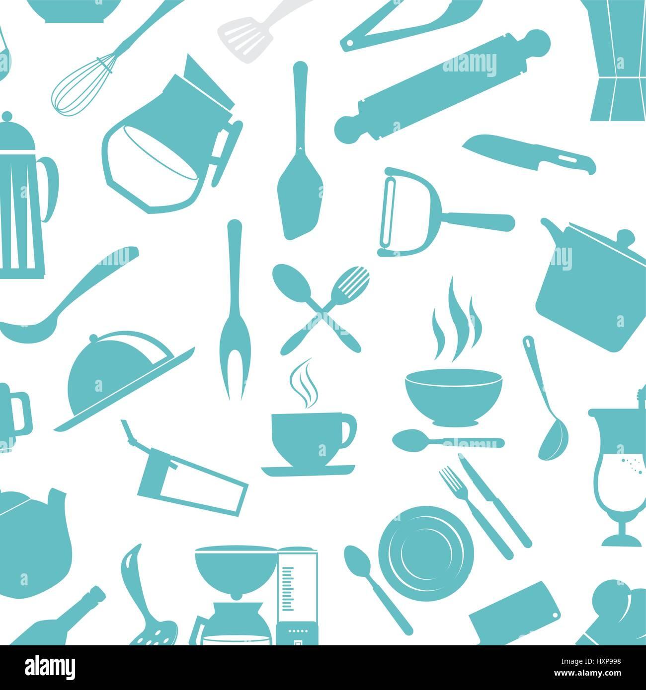 kitchen cutlery tools icons Stock Vector Art & Illustration, Vector ...