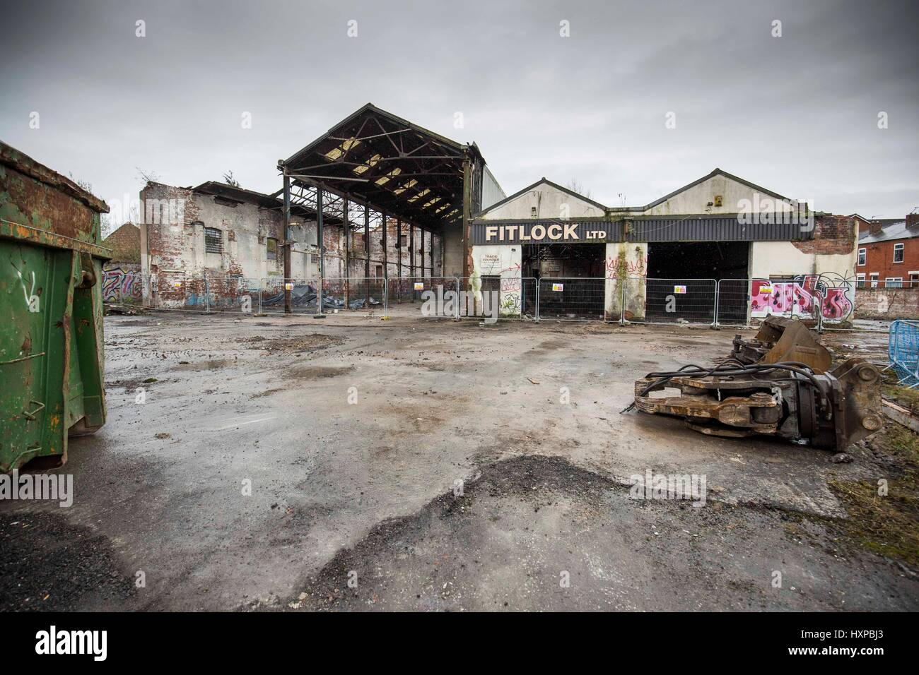 Atlas Works , Chapel Street , Levenshulme.  Demolition begins on the brown field site - Stock Image