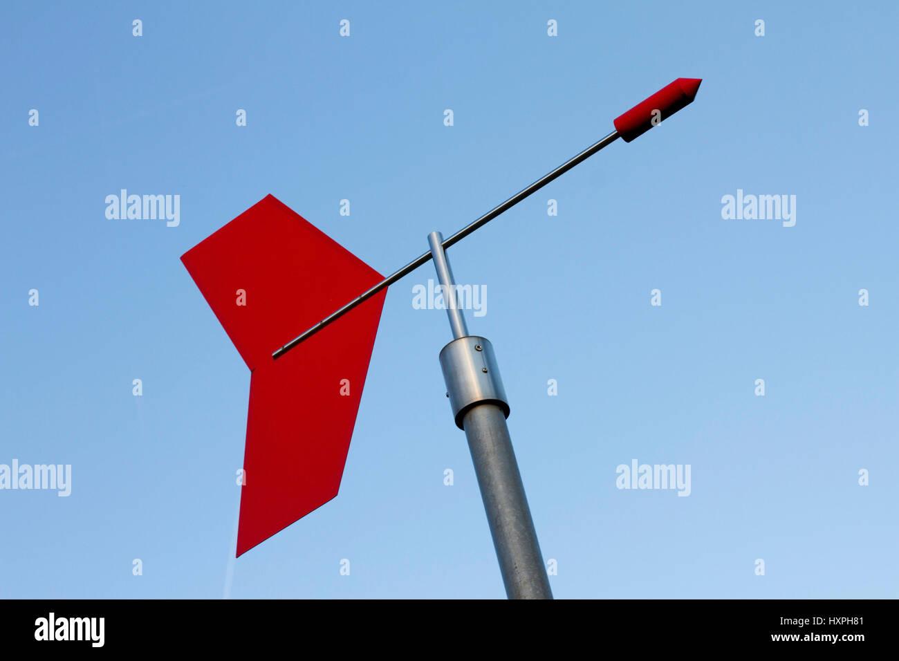 Wind direction indicator weather park Offenbach, Windrichtungsanzeiger Wetterpark Offenbach Stock Photo